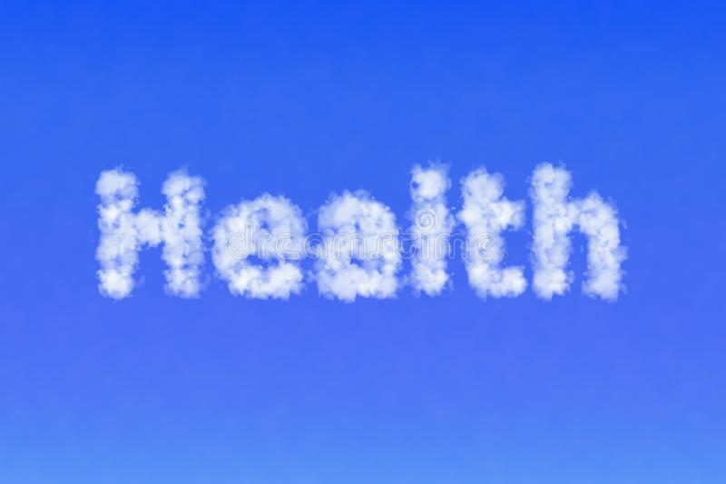 Word Health made of clouds in the sky. Fresh air concept. stock image