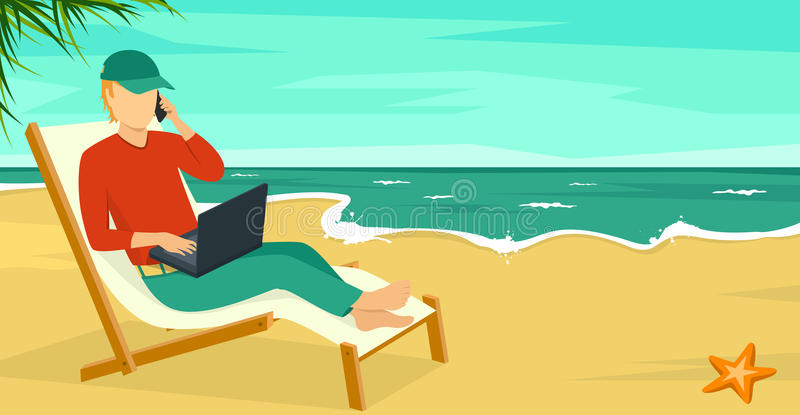 Best Work Concept Beach Summer Sea with Man and Laptop. Best Work Concept Beach Summer Sea Background with Man and Laptop vector illustration