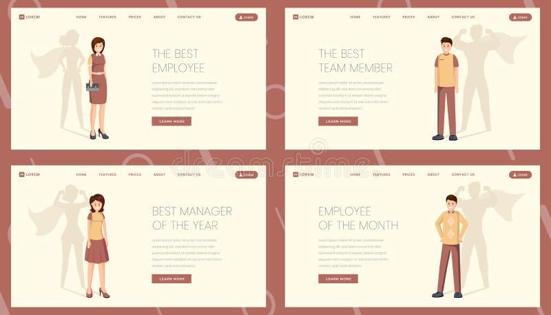 Best worker landing page vector template set. Super manager, employee, team member website, webpage. Excellent personnel stock illustration