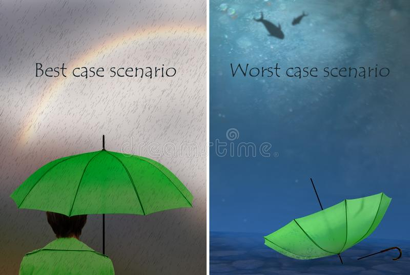 Best and worst case scenarios. Woman with umbrella,. Business, life concept. royalty free stock image