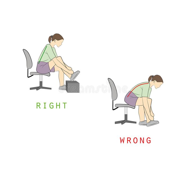 Best and worst positions for shoe lace, illustration, vector vector illustration