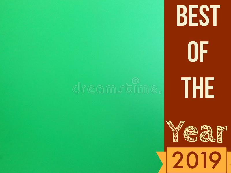 Best of the year 2019 page with blank green screen for use vector illustration