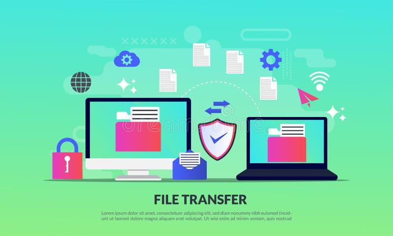 Bestandsoverdrachtconcept, die dossiers tussen apparaten met omslagen op het scherm en overgebrachte documenten, Back-upbestanden vector illustratie