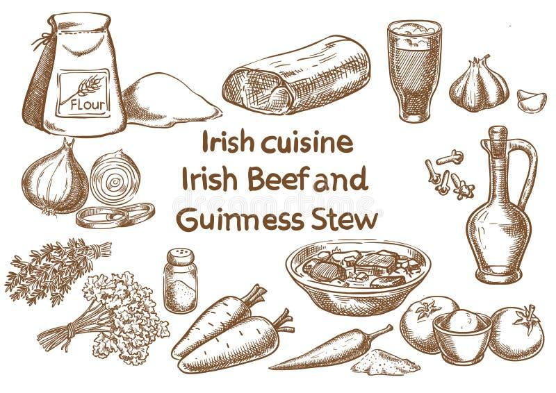 Bestandteile des irischen Rindfleisch- und Guinness-Eintopfgerichts skizze lizenzfreie abbildung