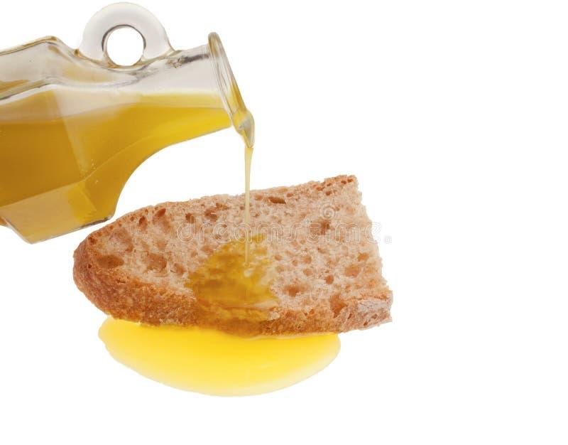 Bestandteile für ` Bruschetta-` - Brot mit Öl stockbild