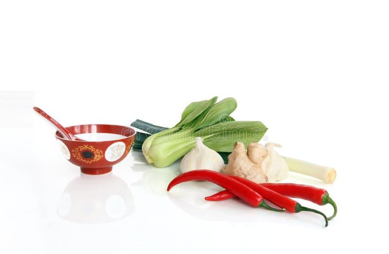 Bestandteile für das asiatische Kochen stockbilder