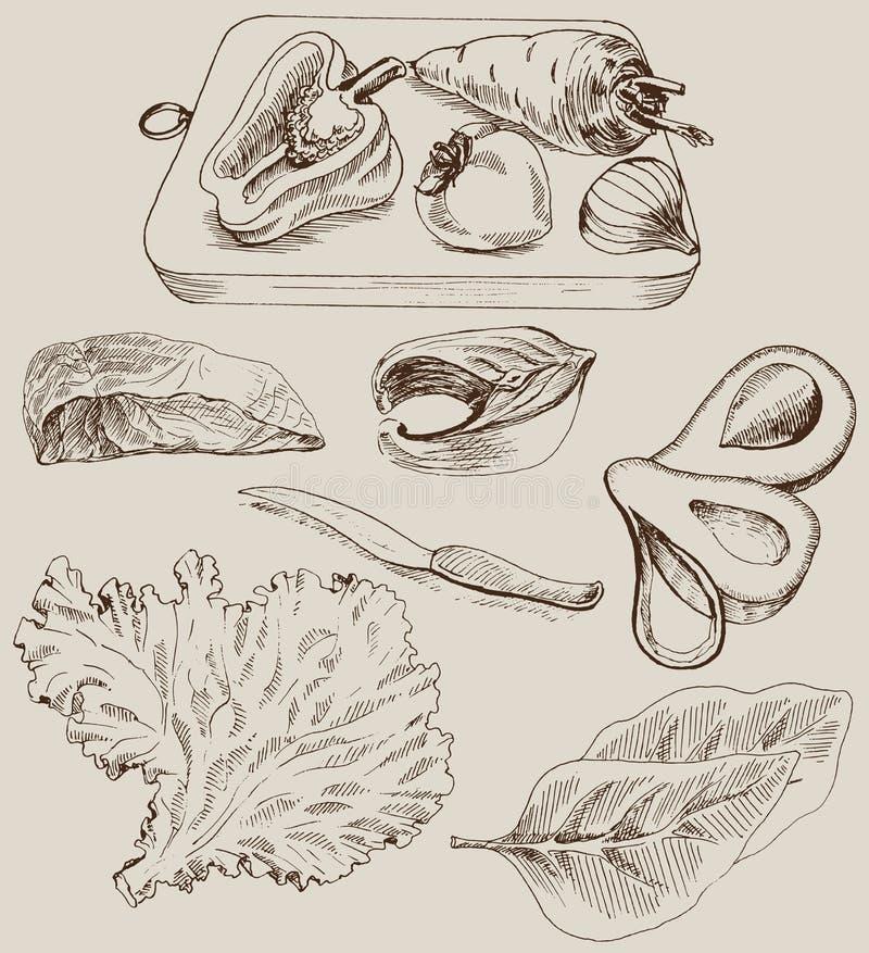 Bestandteile für das Kochen stock abbildung