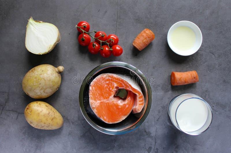 Bestandteile f?r Fischsuppe: Lachs, Zwiebel, Karotte, Kartoffel, Kirschtomaten, Creme, Oliven?l lizenzfreie stockbilder