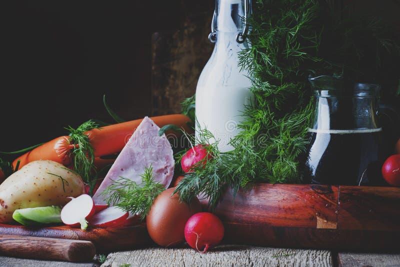Bestandteile für kalte Suppe mit Gemüse, Kräuter und Fleisch produc stockfotos