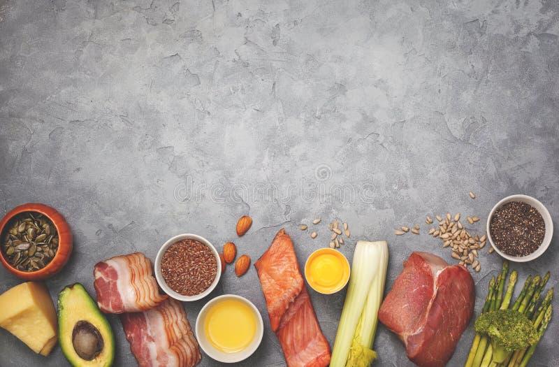 Bestandteile für ketogenic Diät lizenzfreie stockbilder