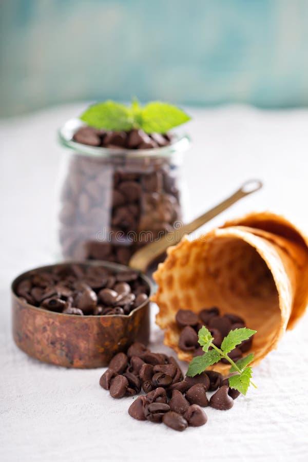 Bestandteile für Schokoladenkaffee-Eiscreme lizenzfreies stockbild