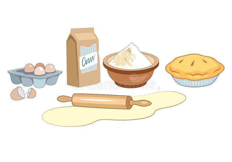 Bestandteile für selbst gemachte Bäckerei B?ckereisatz-Vektorillustration vektor abbildung