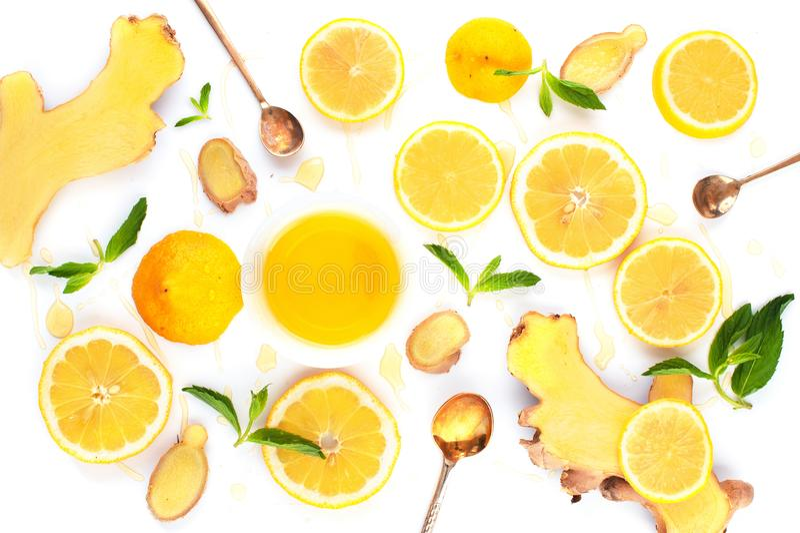 Bestandteile für Vitaminwintergetränk stockfoto