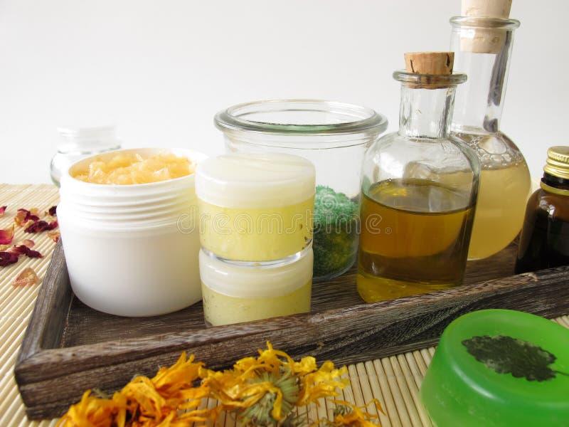 Bestandteile und Geräte für selbst gemachte Kosmetik lizenzfreie stockbilder