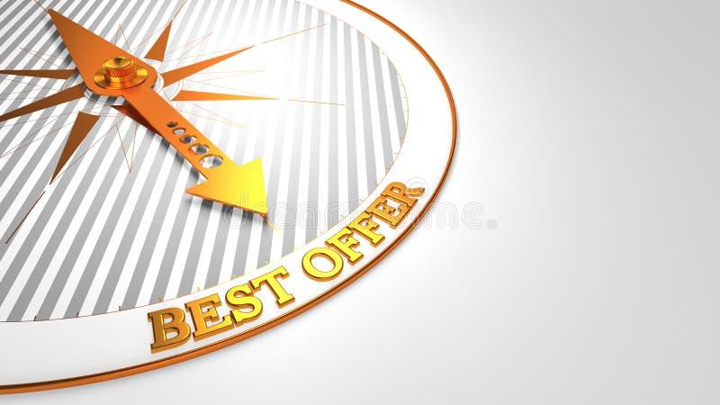 Beste Aanbieding op Wit met Gouden Kompas royalty-vrije illustratie
