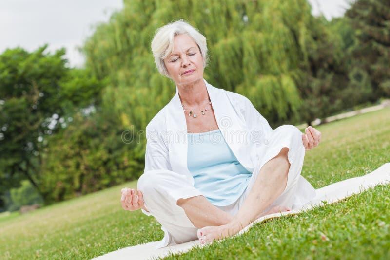 Beste ager vrouwen die tai van de yogamier chi uitoefenen stock afbeeldingen