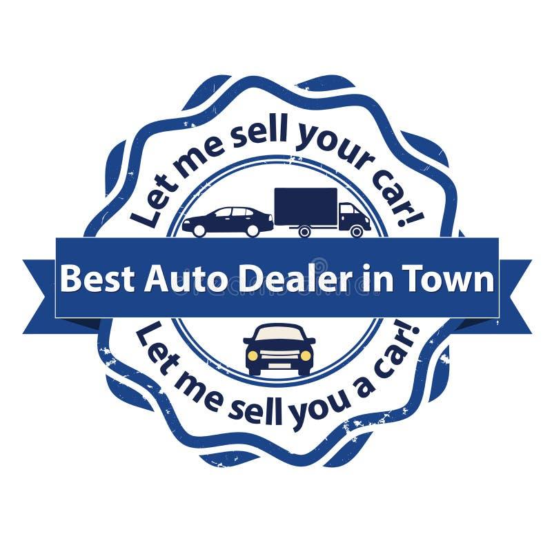 Beste autohandelaar in stad - bedrijfszegel stock illustratie