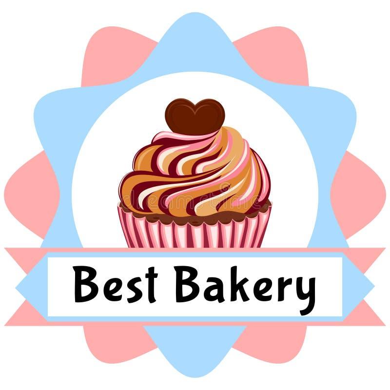 Beste bakkerijaffiche - het smakelijke bovenste laagje van het suiker cupcake hart stock illustratie