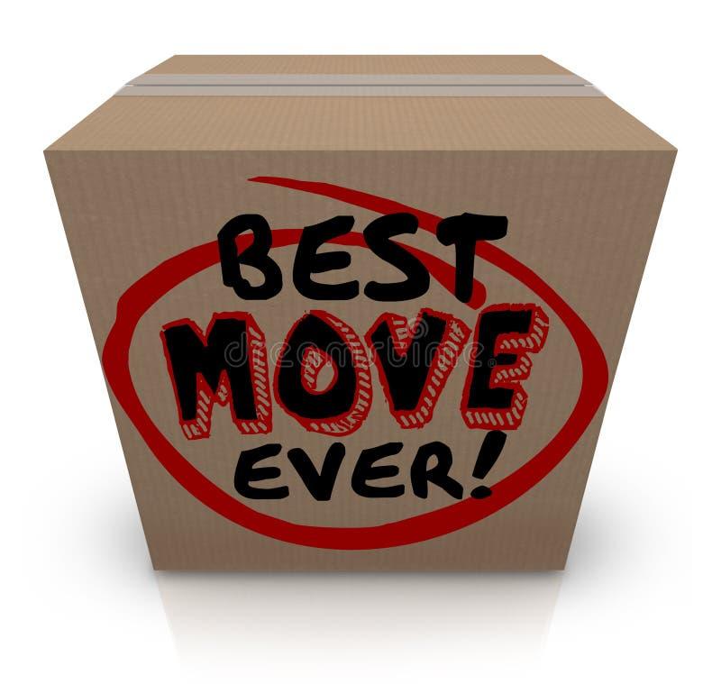 Beste Beweging die ooit Kartondoos inpakken die Nieuw Huis bewegen royalty-vrije illustratie