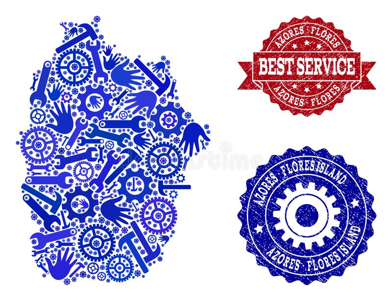 Beste de Dienstcollage van Kaart van het Eiland van de Azoren - Flores-en Gekraste Watermerken stock illustratie