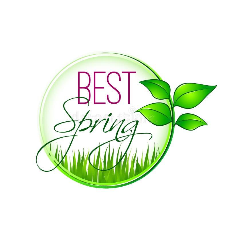Beste de Lente groen blad en gras vectorpictogram vector illustratie