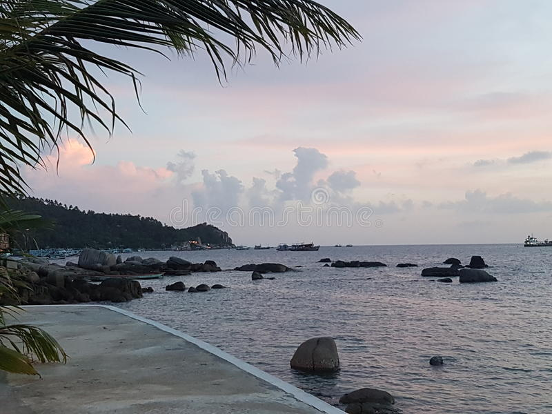 Beste de vakantiezonsopgang van Thailand van meningskohtao stock afbeeldingen