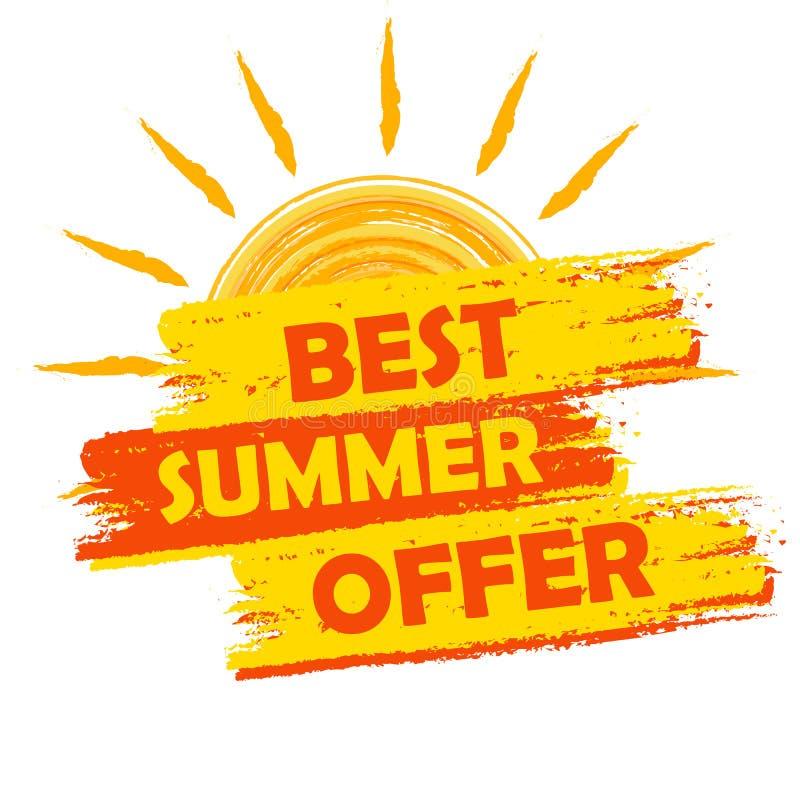 Beste de zomeraanbieding met zonteken, gele en sinaasappel getrokken etiket vector illustratie