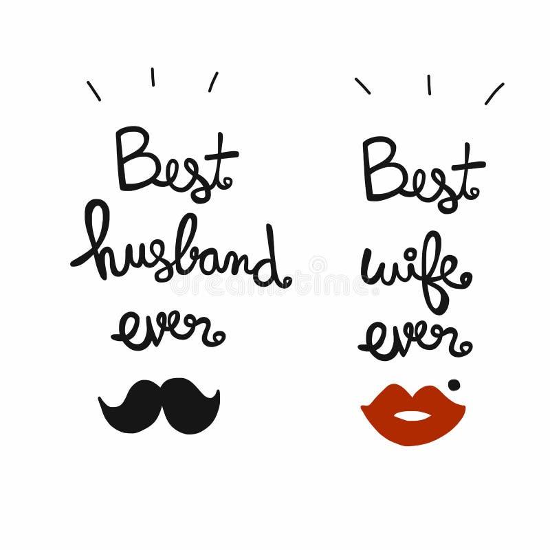 Beste echtgenoot en vrouwen ooit woord die vectorillustratie van letters voorzien royalty-vrije illustratie