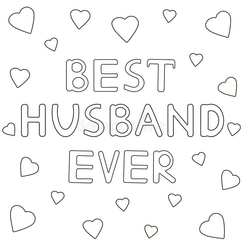 Beste echtgenoot ooit - hand getrokken tekst met harten Kleurende pagina royalty-vrije illustratie