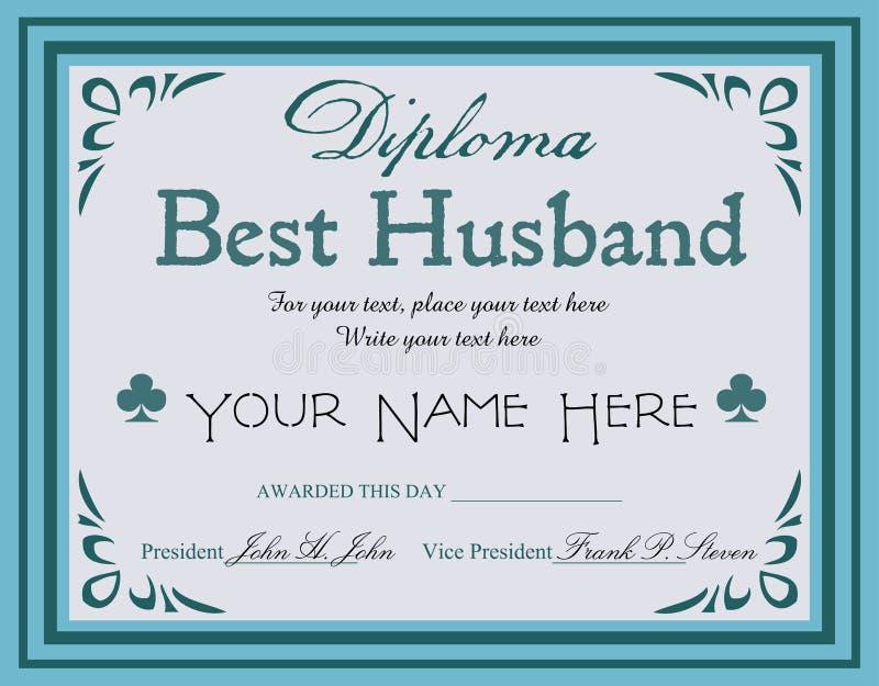 Beste echtgenootdiploma vector illustratie