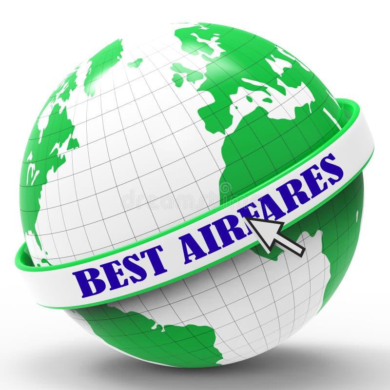 Beste Flugpreise stellt Verkaufspreis und Flugzeuge dar vektor abbildung