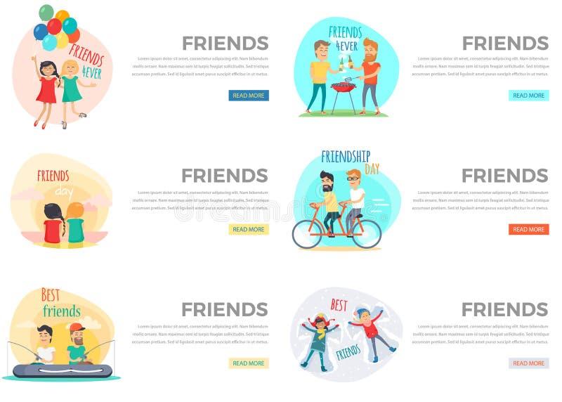 Beste Freund-Tagesfür immer Netz-Sammlung auf Weiß stock abbildung