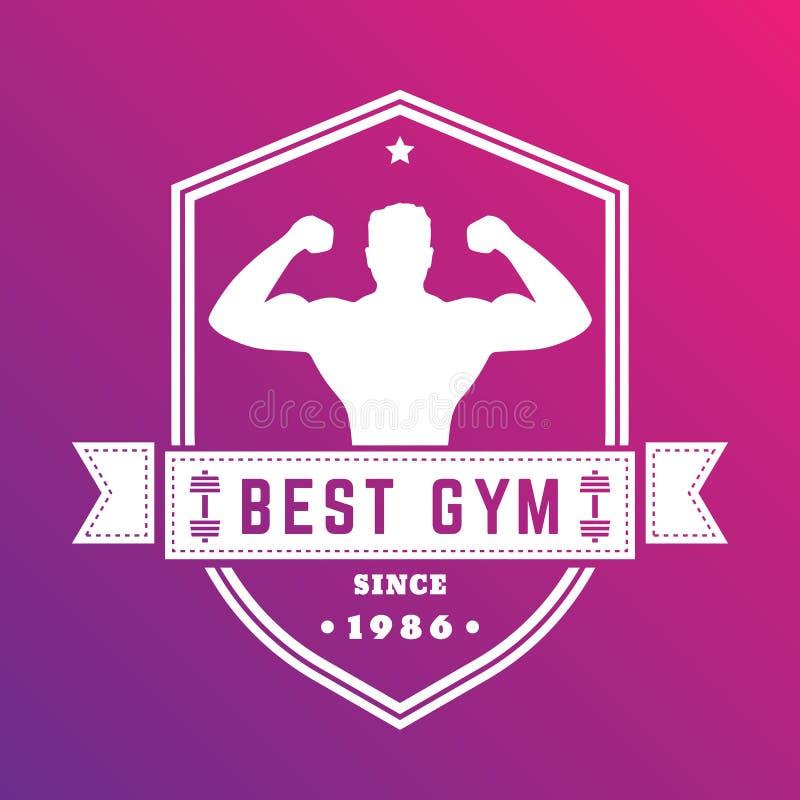 Beste gymnastiek uitstekend embleem, wit kenteken met atleet vector illustratie