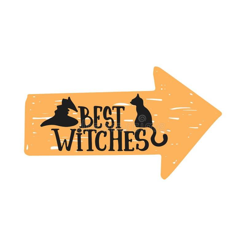 Beste Hexen - Halloween-Parteihand gezeichnet, Phrasenkarte beschriftend Spaßbürstentintentypographie-Grußkarte, Illustration vektor abbildung