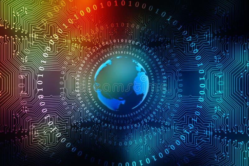 Beste Internet-Concept globale zaken, Digitale Abstracte technologieachtergrond Elektronika, WiFi, stralen, symbolen tele Interne royalty-vrije stock fotografie