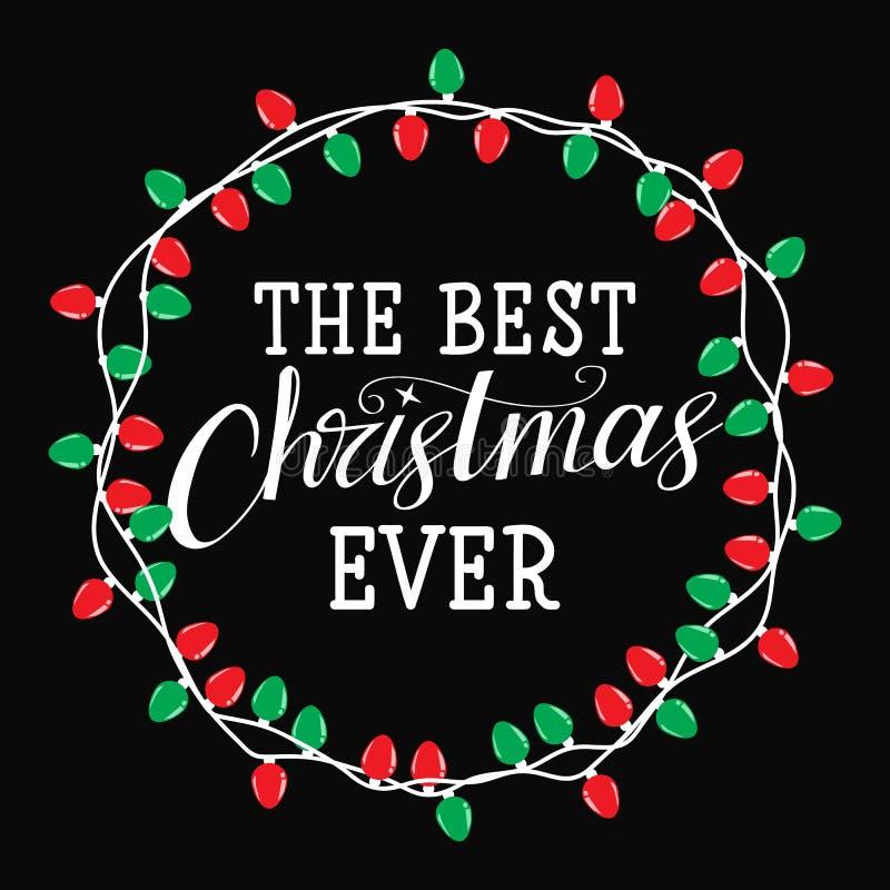 Beste Kerstmis ooit Nieuwe jaargroeten Van de de winterkaart of affiche ontwerp vector illustratie