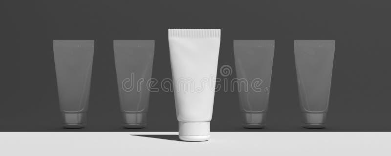 Beste keus Kosmetische buis Spot omhoog Het schoonheidsmiddel, Room, Tanddeeg, lijmt Witte Plastic Buizen Realistische 3d Illustr royalty-vrije illustratie