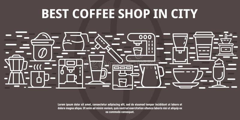 Beste koffiewinkel in stadsbanner, overzichtsstijl vector illustratie