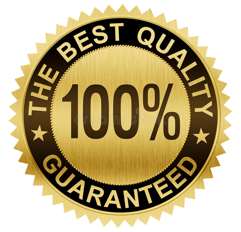 Beste kwaliteit gewaarborgde gouden verbindingsmedaille met het knippen van weg royalty-vrije illustratie