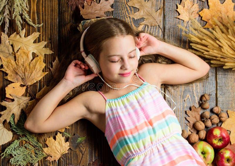 Beste liederen over daling Geniet van muziek en ontspan Het meisje legt gevallen bladeren Het jonge geitje luistert de houten ach royalty-vrije stock foto's