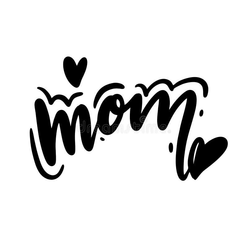 Beste Mamma ooit, het vectorhand van letters voorzien De gelukkige illustratie van de Moederdagkalligrafie met getrokken harten v royalty-vrije illustratie