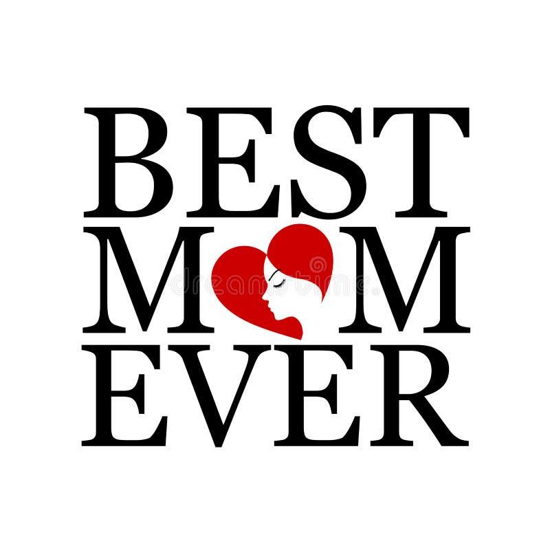 Beste mamma ooit met gezicht van een vrouw stock illustratie