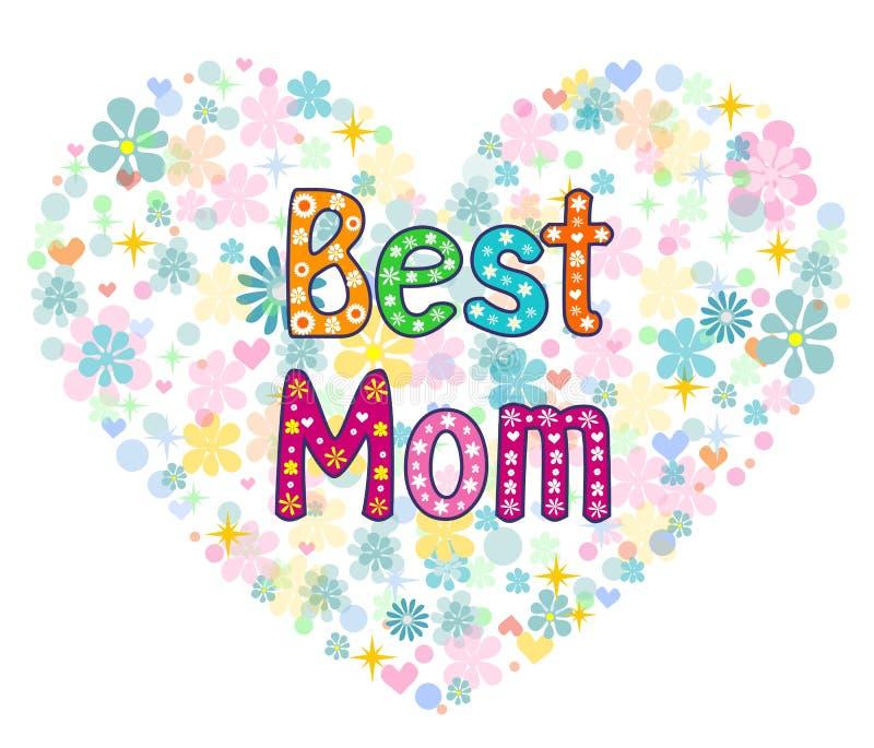 Beste Mammawoorden in bloemenkader stock illustratie