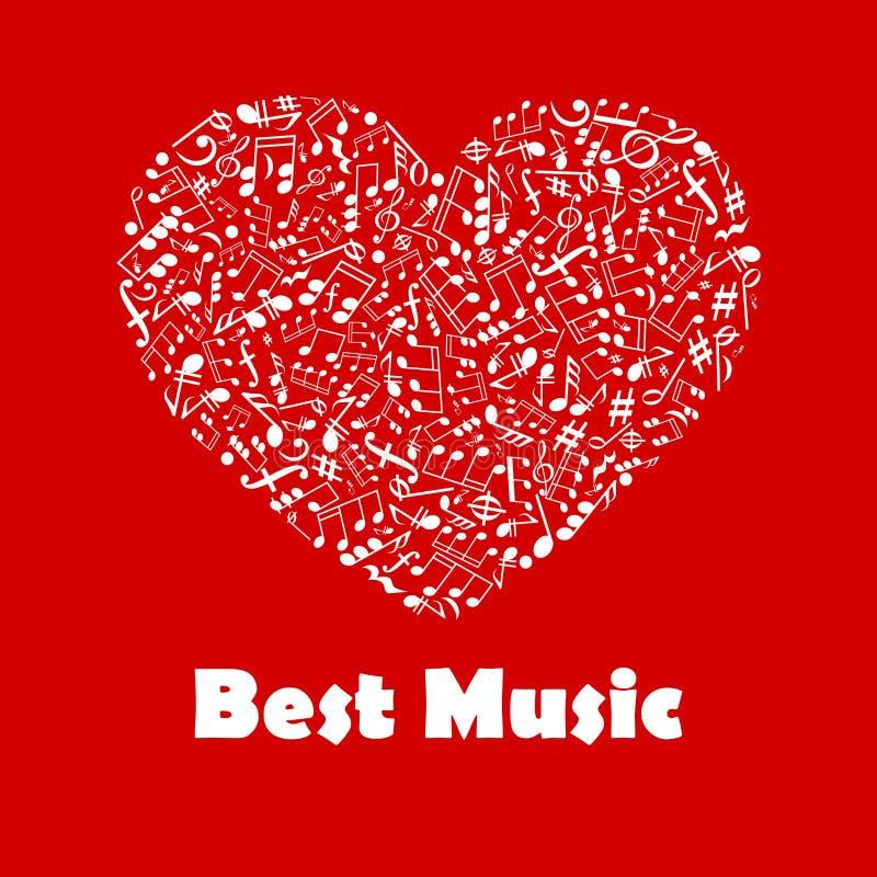 Beste Muziekaffiche met de muzieknoten van de hartvorm stock illustratie