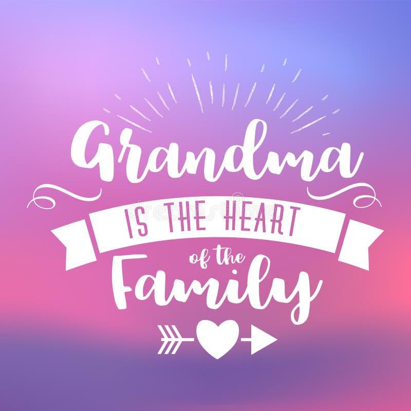 Beste oma met de hand geschreven in wit stock illustratie