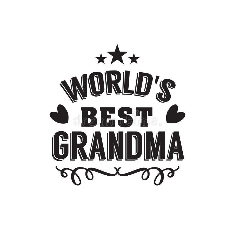 Beste oma met de hand geschreven in zwarte stock illustratie