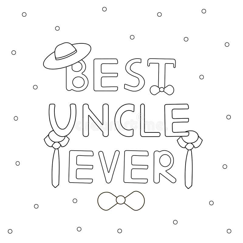 Beste oom ooit - hand getrokken tekst met hoed en banden royalty-vrije illustratie