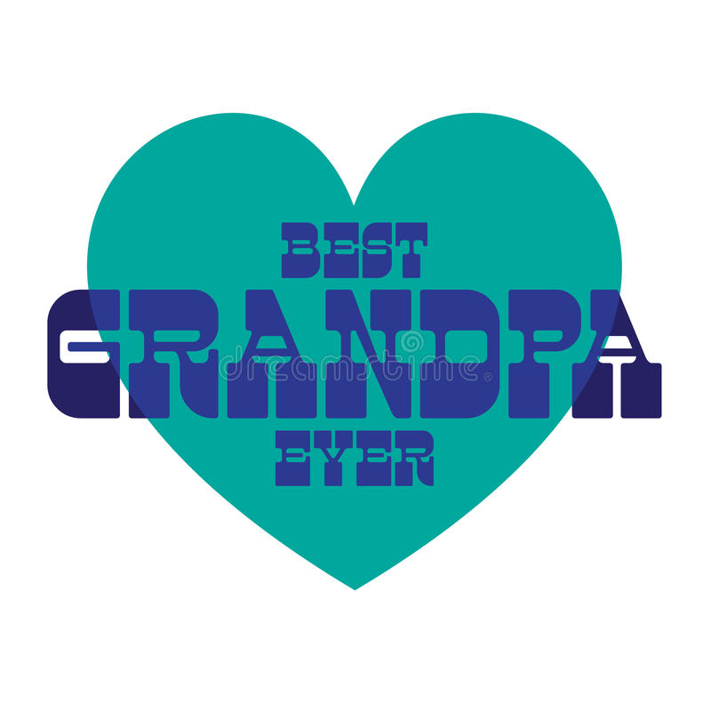 Beste opa ooit op blauw hart vector illustratie