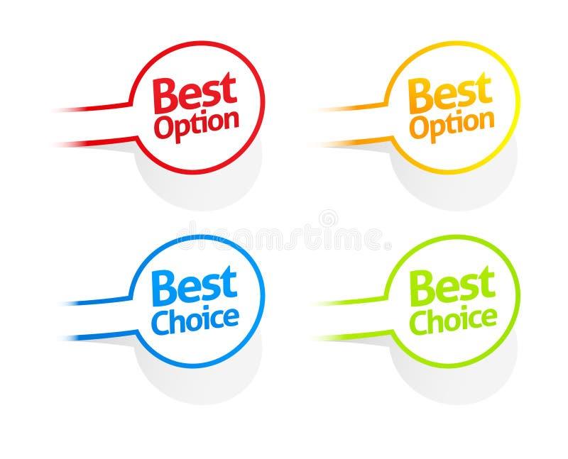 Beste Options- und Wahlaufkleberansammlung lizenzfreie abbildung