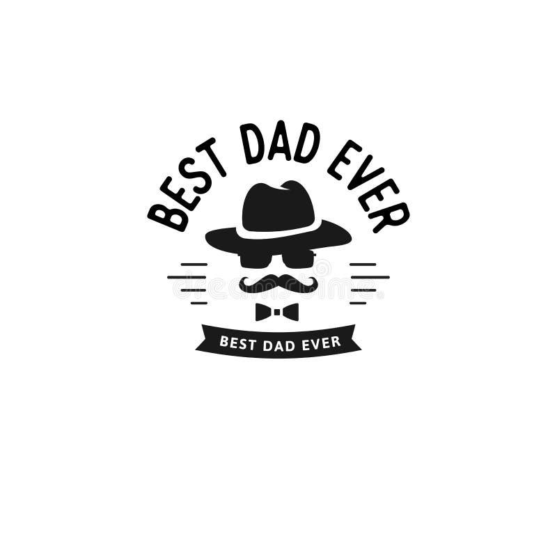 Beste papa ooit Het gelukkige Ontwerp van de Vader` s Dag Zwart de Vaderembleem van de kleuren uitstekend stijl op lichte grungea vector illustratie